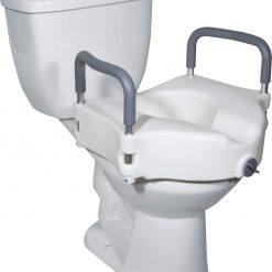 Raised Toilet Seat with Tool free Removable Arms